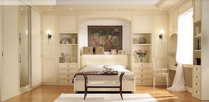 Дизайн спальни со шкафами по бокам